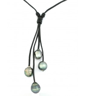 Collier cuir avec 4 perles de Tahiti grise