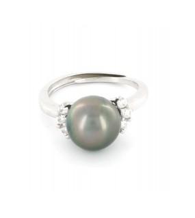 Bague en argent et zircon avec sa perle de Tahiti grise foncée