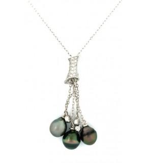 Pendentif en argent zircon 3 perles de Tahiti multicolores