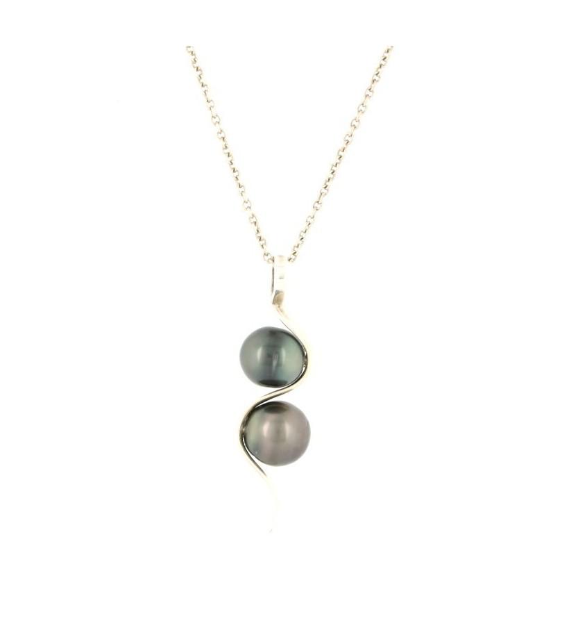 collier argent avec perle de tahiti
