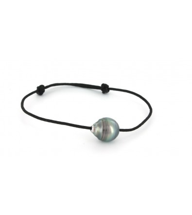 Bracelet en coton avec perle de Tahiti