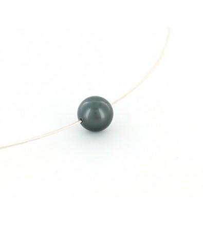 Collier cable argent avec perle de Tahiti