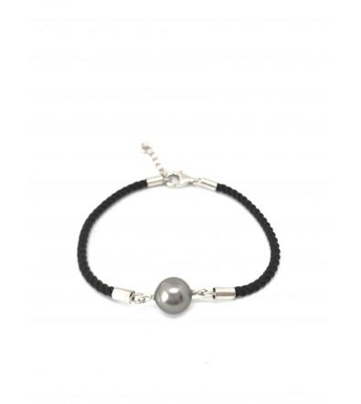 Bracelet coton tressé avec perle de Tahiti