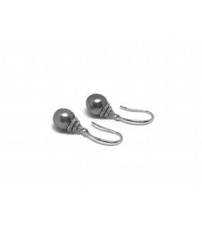 boucles oreilles argent zircons avec perle de Tahiti