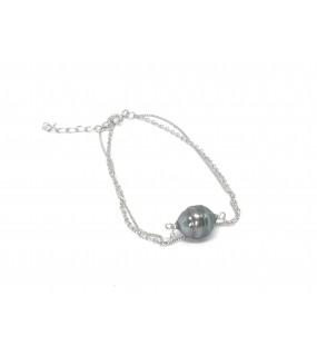 Bracelet double chaîne argent avec perle de Tahiti
