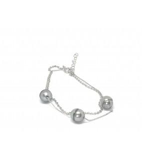 Bracelet argent double chaîne avec perle de Tahiti verte